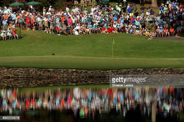 General view of the 17th green during the second round of the 2017 PGA Championship at Quail Hollow Club on August 11, 2017 in Charlotte, North...