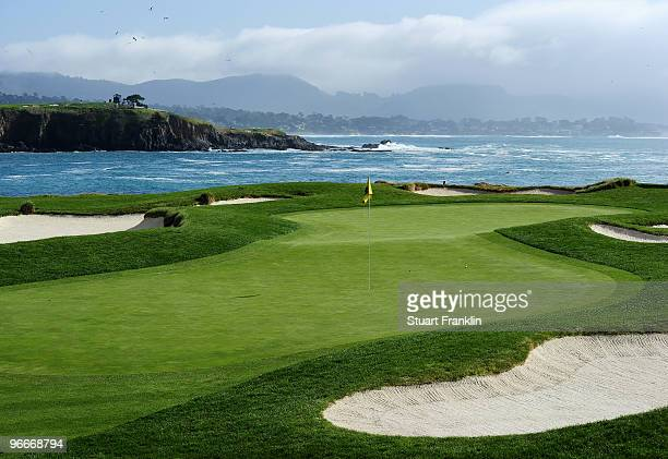 A general view of the 17th green during the third round of the ATT Pebble Beach National ProAm at Pebble Beach Golf Links on February 13 2010 in...