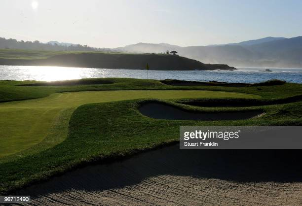 A general view of the 17th hole before the final round of the ATT Pebble Beach National ProAm at Pebble Beach Golf Links on February 14 2010 in...