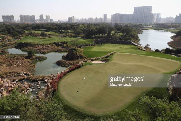 A general view of the 17th hole during a practice round ahead of the Hero Indian Open at Dlf Golf and Country Club on March 7 2018 in New Delhi India