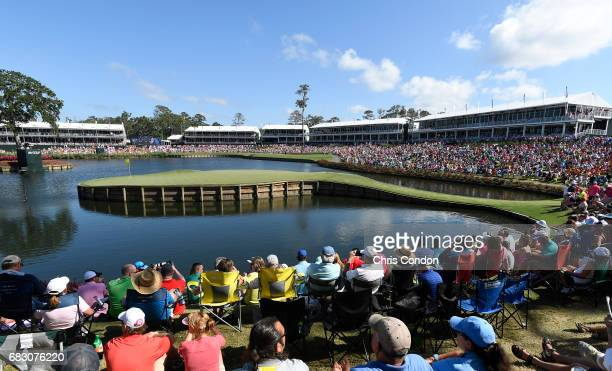 A general view of the 17th hole during the final round of THE PLAYERS Championship on THE PLAYERS Stadium Course at TPC Sawgrass on May 14 in Ponte...