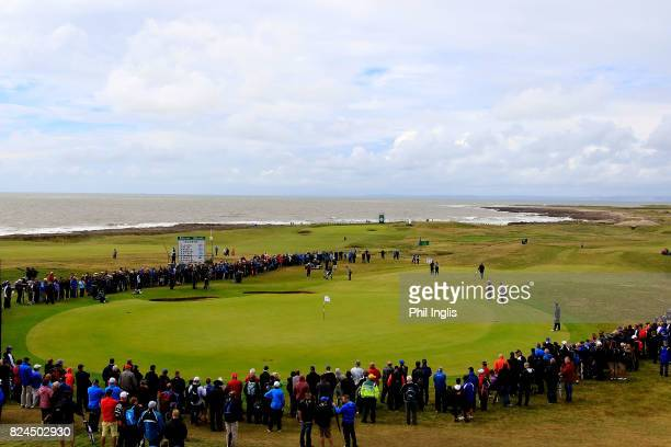 General view of the 17th hole during the final round of the Senior Open Championship at Royal Porthcawl Golf Club on July 30, 2017 in Bridgend, Wales.