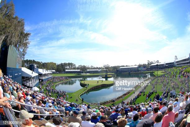 General view of the 17th hole during the first round of The PLAYERS Championship on The Stadium Course at TPC Sawgrass on March 12 2020 in Ponte...