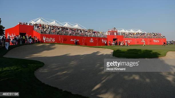 A general view of the 17th hole during the second round of the Abu Dhabi HSBC Golf Championship at the Abu Dhabi Golf Club on January 17 2014 in Abu...