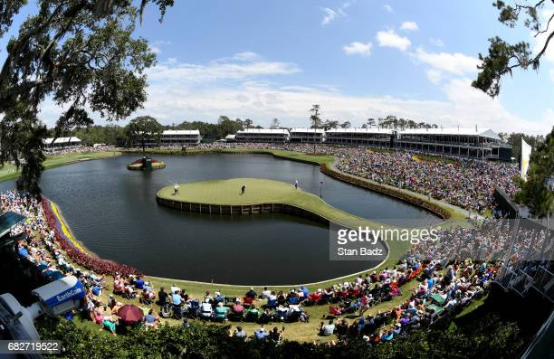 A general view of the 17th hole during the third round of THE PLAYERS Championship on THE PLAYERS Stadium Course at TPC Sawgrass on May 13 in Ponte...