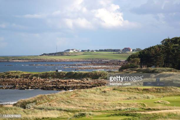 General view of the 17th tee during previews ahead of The Alfred Dunhill Links Championship at Kingsbarns Golf Links on September 27, 2021 in St...