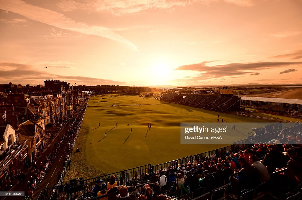 A general view of the 18th and first hole is seen as fans watch play during the second round of the 144th Open Championship at The Old Course on July 18, 2015 in St Andrews, Scotland.