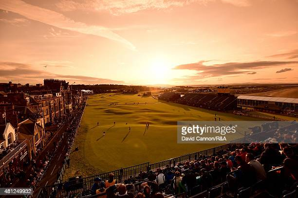 A general view of the 18th and first hole is seen as fans watch play during the second round of the 144th Open Championship at The Old Course on July...