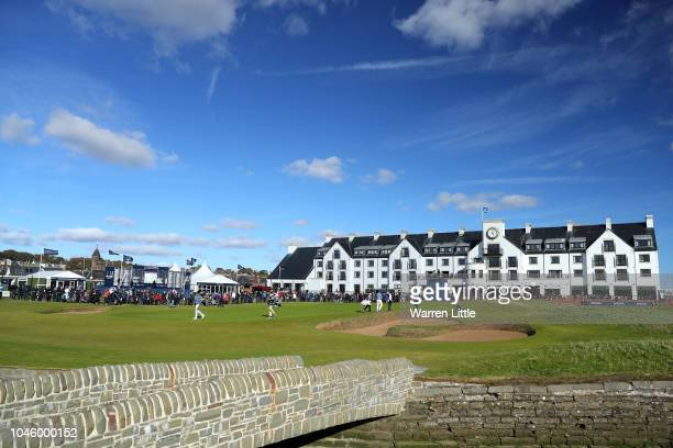 A general view of the 18th during day two of the 2018 Alfred Dunhill Links Championship at Carnoustie Golf Links on October 5 2018 in Carnoustie...