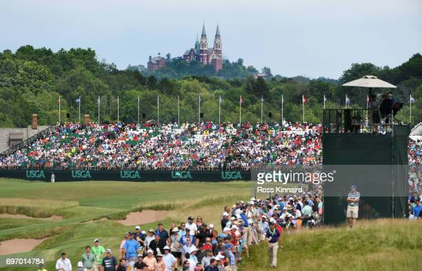 A general view of the 18th fairway during the third round of the 2017 US Open at Erin Hills on June 17 2017 in Hartford Wisconsin