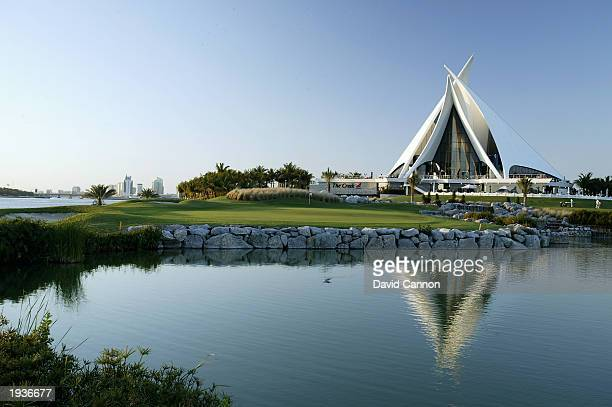 A general view of the 18th green and clubhouse at the Dubai Creek Golf and Yacht club on March 6 2003 in Dubai in the United Arab Emirates