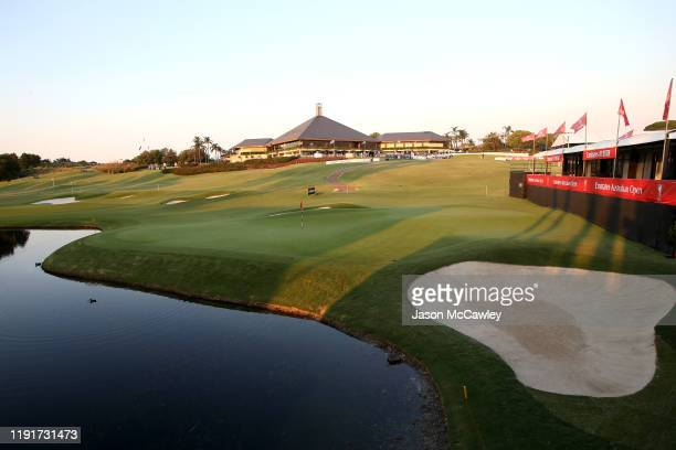 General view of the 18th green and Clubhouse during a practice round ahead of the 2019 Australian Golf Open at The Australian Golf Club on December...