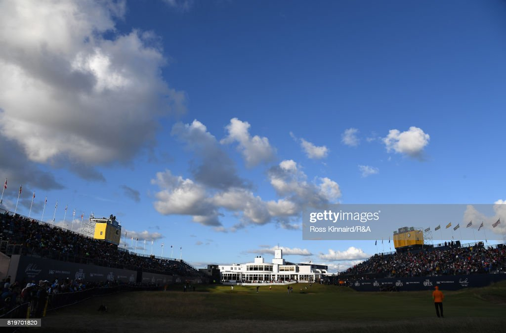 A general view of the 18th green and clubhouse during the first round of the 146th Open Championship at Royal Birkdale on July 20, 2017 in Southport, England.