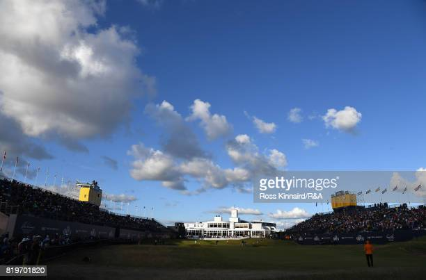 General view of the 18th green and clubhouse during the first round of the 146th Open Championship at Royal Birkdale on July 20, 2017 in Southport,...