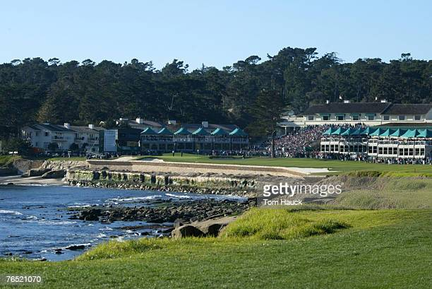 A general view of the 18th green and clubhouse of the Pebble Beach Golf Links during the final round of PGA TOUR2004 ATT Pebble Beach National ProAM...