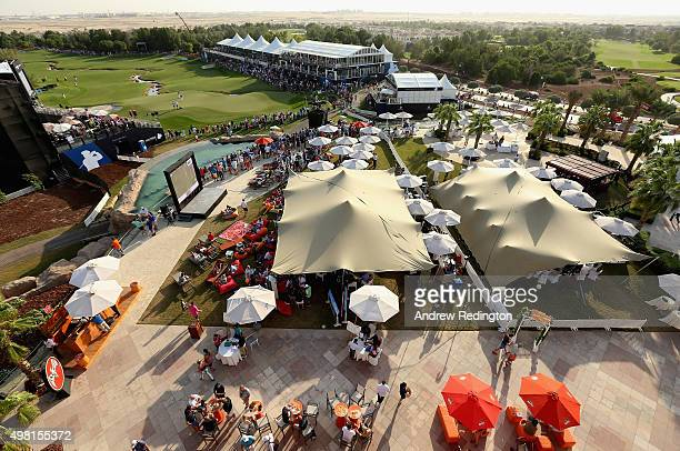 A general view of the 18th green and clubhouse terrace during the third round of the DP World Tour Championship on the Earth Course at Jumeirah Golf...