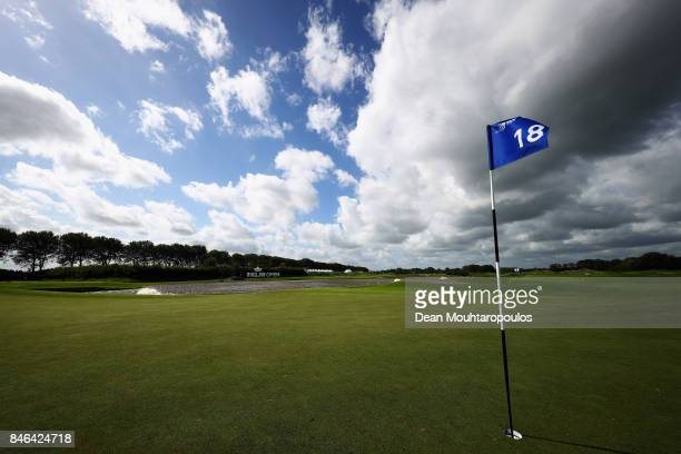 A general view of the 18th green and flag blowing in the strong winds during the European Tour KLM Open ProAM held at The Dutch on September 13 2017...