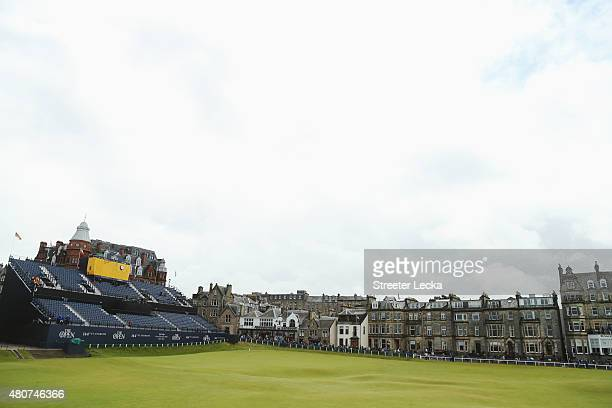 A general view of the 18th green and grandstand during practice ahead of the 144th Open Championship at The Old Course on July 15 2015 in St Andrews...
