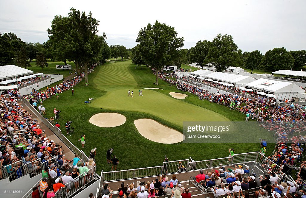 A general view of the 18th green as Charl Schwartzel of South Africa and Dustin Johnson finish their round during the final round of the World Golf Championships - Bridgestone Invitational at Firestone Country Club South Course on July 3, 2016 in Akron, Ohio.