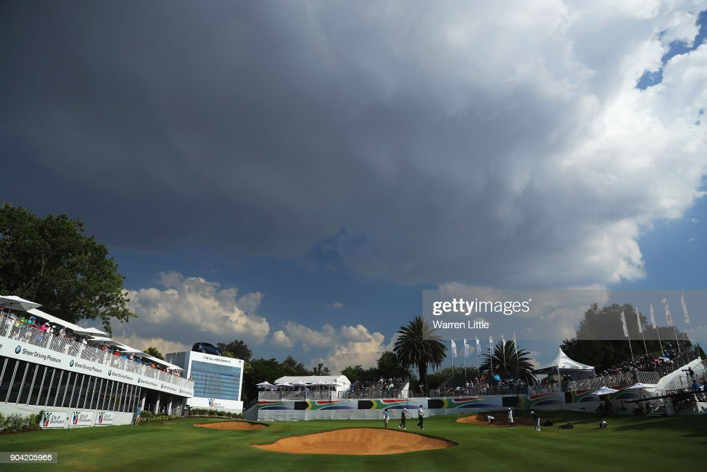 A general view of the 18th green as clouds appear overhead during day two of the BMW South African Open Championship at Glendower Golf Club on January 12, 2018 in Johannesburg, South Africa.