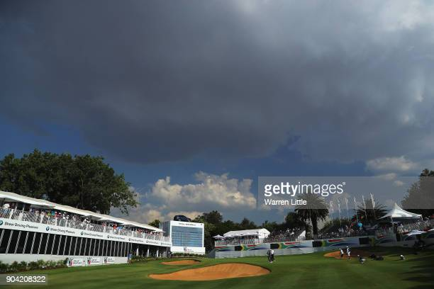 A general view of the 18th green as clouds appear overhead during day two of the BMW South African Open Championship at Glendower Golf Club on...