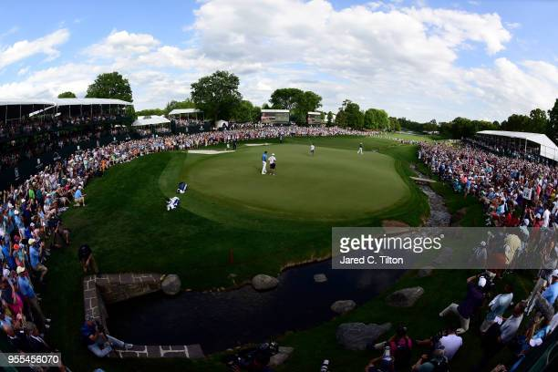General view of the 18th green as Jason Day of Austrailia wins the 2018 Wells Fargo Championship at Quail Hollow Club on May 6, 2018 in Charlotte,...