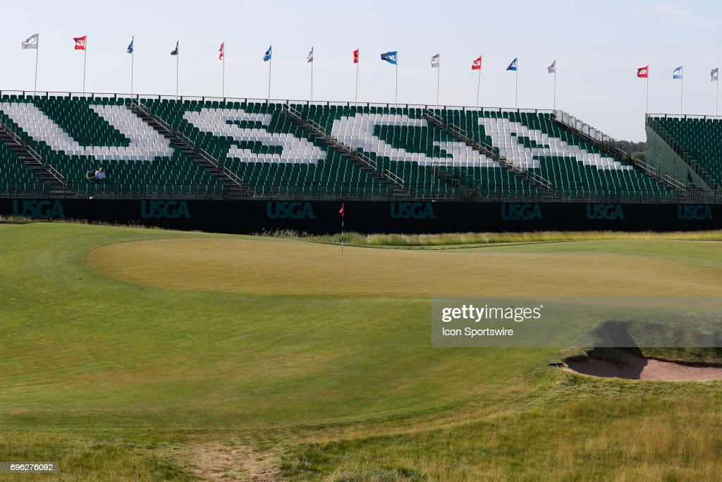 A general view of the 18th green during a practice round for the 117th US Open at Erin Hills in Erin, Wisconsin.