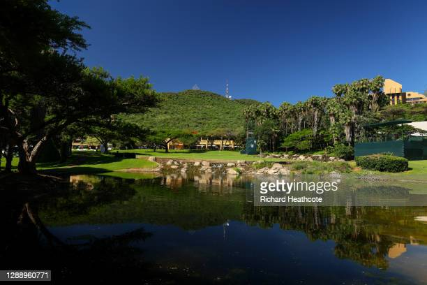 General view of the 18th green during a practice round for the South African Open at Gary Player CC on December 02, 2020 in Sun City, South Africa.