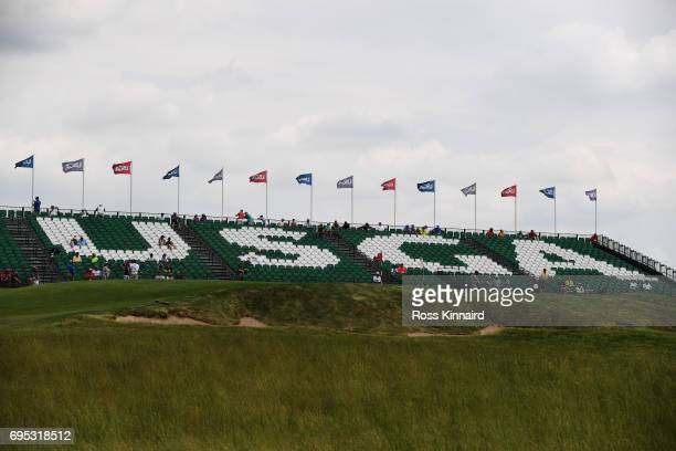 A general view of the 18th green during a practice round prior to the 2017 US Open at Erin Hills on June 12 2017 in Hartford Wisconsin