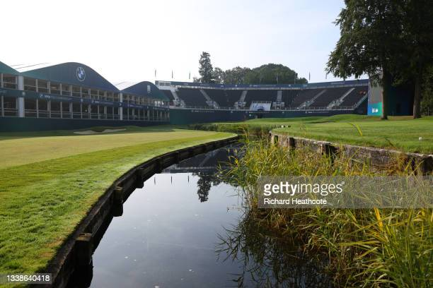 General view of the 18th green during a preview day of The BMW PGA Championship at Wentworth Golf Club on September 06, 2021 in Virginia Water,...