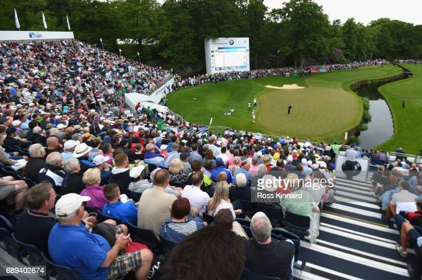 A general view of the 18th green during day four of the BMW PGA Championship at Wentworth on May 28 2017 in Virginia Water England