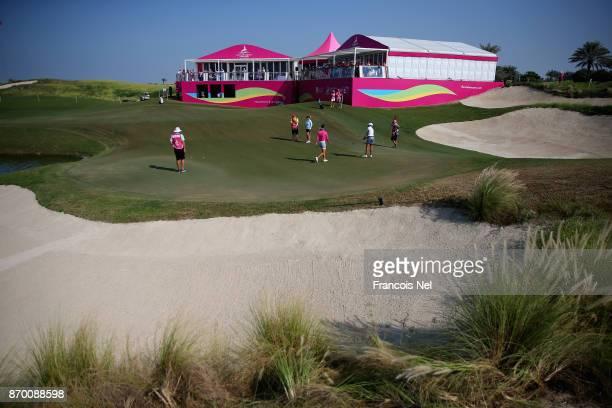 A general view of the 18th green during Day Four of the Fatima Bint Mubarak Ladies Open at Saadiyat Beach Golf Club on November 4 2017 in Abu Dhabi...