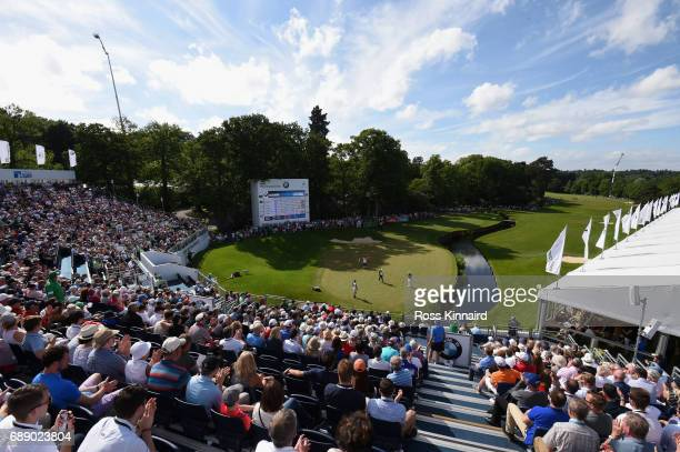 A general view of the 18th green during day three of the BMW PGA Championship at Wentworth on May 27 2017 in Virginia Water England