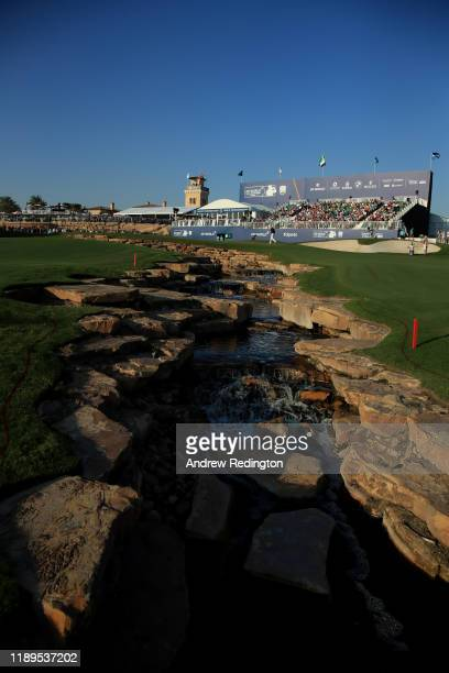 General view of the 18th green during Day Three of the DP World Tour Championship Dubai at Jumeirah Golf Estates on November 23, 2019 in Dubai,...