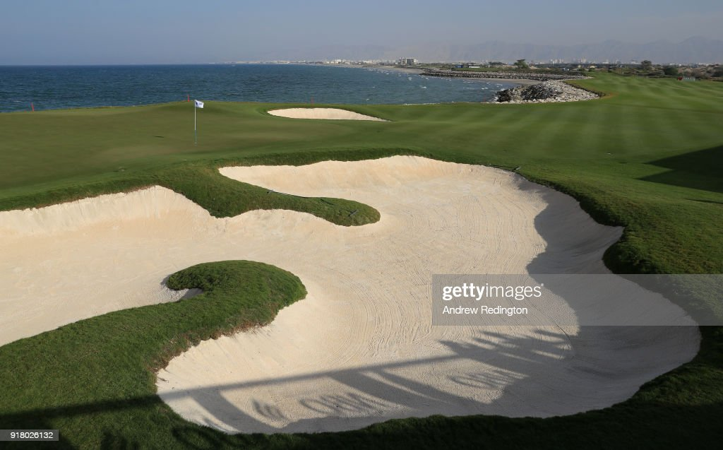 A general view of the 18th green during practice for the NBO Oman Golf Classic at Al Mouj Golf on February 13, 2018 in Muscat, Oman.
