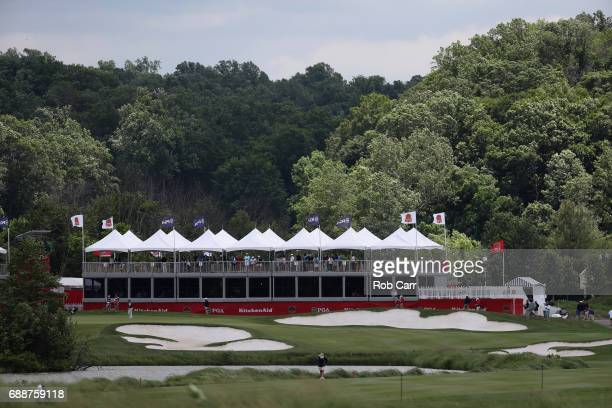 A general view of the 18th green during Round 2 of the Senior PGA Championship at Trump National Golf Club on May 26 2017 in Sterling Virginia