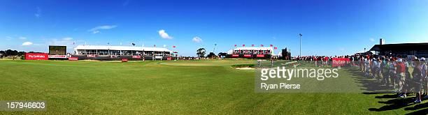 A general view of the 18th Green during round three of the 2012 Australian Open at The Lakes Golf Club on December 8 2012 in Sydney Australia