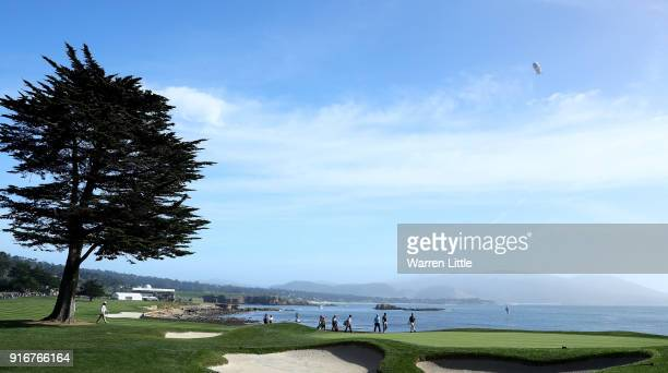 A general view of the 18th green during Round Three of the ATT Pebble Beach ProAm at Pebble Beach Golf Links on February 10 2018 in Pebble Beach...