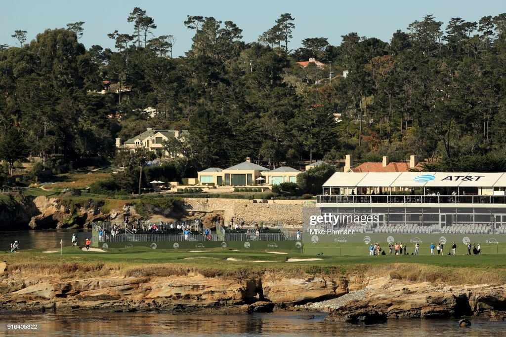 A general view of the 18th green during Round Two of the AT&T Pebble Beach Pro-Am at Pebble Beach Golf Links on February 9, 2018 in Pebble Beach, California.