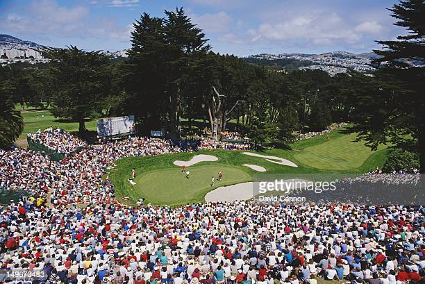 General view of the 18th green during the 87th US Open Golf tournament on 21st June 1987 at the Olympic Club's Lake Course in San Francisco,...
