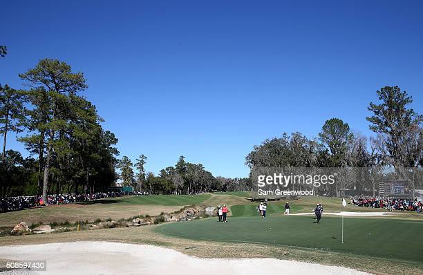 A general view of the 18th green during the continuation of the second round of the Coates Golf Championship Presented By RL Carriers at Golden Ocala...