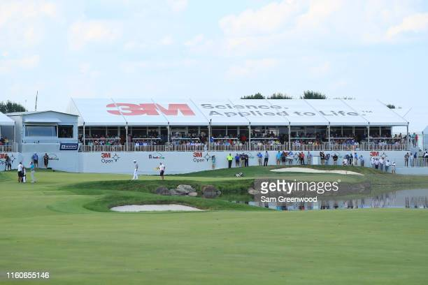 A general view of the 18th green during the final round of the 3M Open at TPC Twin Cities on July 07 2019 in Blaine Minnesota