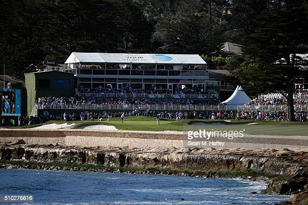 A general view of the 18th green during the final round of the ATT Pebble Beach National ProAm at the Pebble Beach Golf Links on February 14 2016 in...