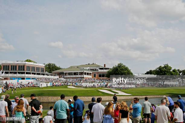 A general view of the 18th green during the final round of the Charles Schwab Challenge at Colonial Country Club on May 26 2019 in Fort Worth Texas