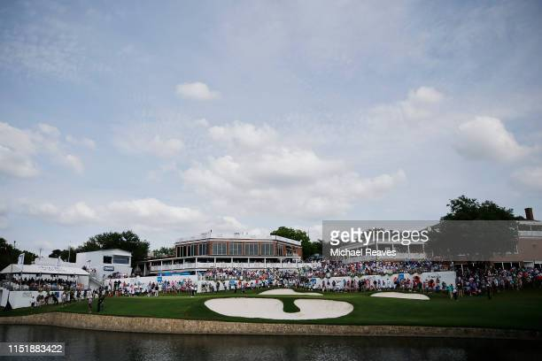 General view of the 18th green during the final round of the Charles Schwab Challenge at Colonial Country Club on May 26, 2019 in Fort Worth, Texas.