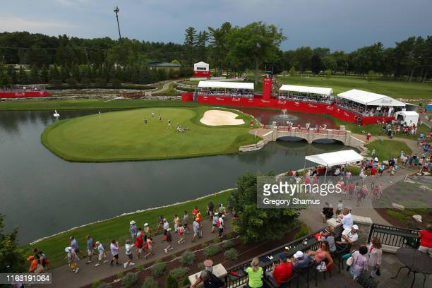 General view of the 18th green during the final round of the Dow Great Lakes Bay Invitational at Midland Country Club on July 19 2019 in Midland...