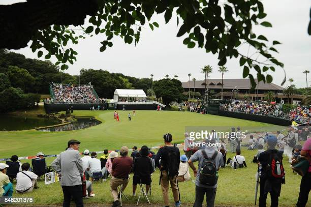 A general view of the 18th green during the final round of the Munsingwear Ladies Tokai Classic 2017 at the Shin Minami Aichi Country Club Mihama...