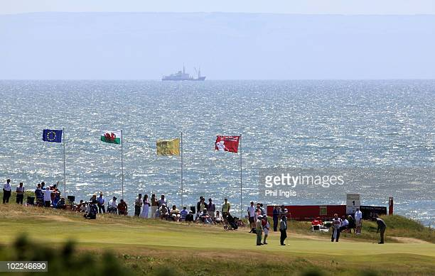 A general view of the 18th green during the final round of the Ryder Cup Wales Seniors Open played at Royal Porthcawl Golf Club on June 20 2010 in...