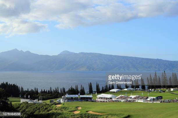 General view of the 18th green during the final round of the Sentry Tournament of Champions at the Plantation Course at Kapalua Golf Club on January...