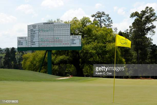 General view of the 18th green during the first round of the Masters at Augusta National Golf Club on April 11, 2019 in Augusta, Georgia.